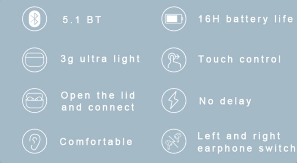 Pin Tai nghe True Wireless DareU D2 Earbuds - Bluetooth 5.1 - songphuong.vn